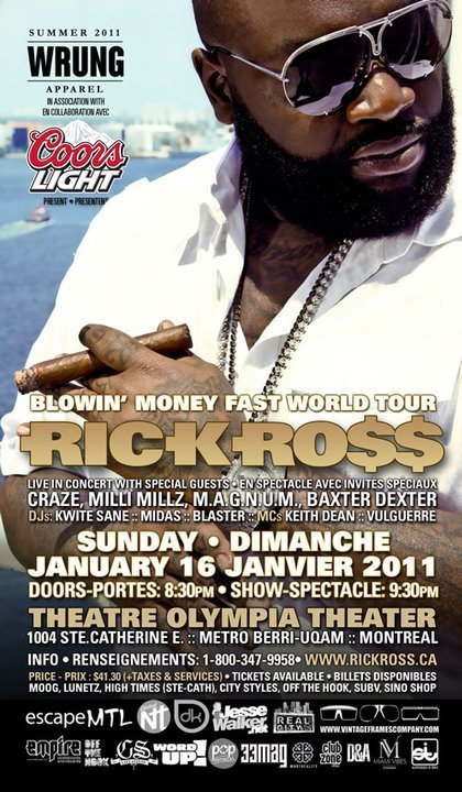 Rick Ross - Live In Concert (Montreal) Sunday January 16th, 2011